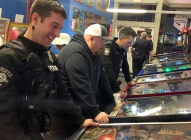 While city politicians debated a new contract with police officers, some cops chose to spend the evening in Seattle's International District, playing pinball, and talking with neighbors. This is Pinball with Police.