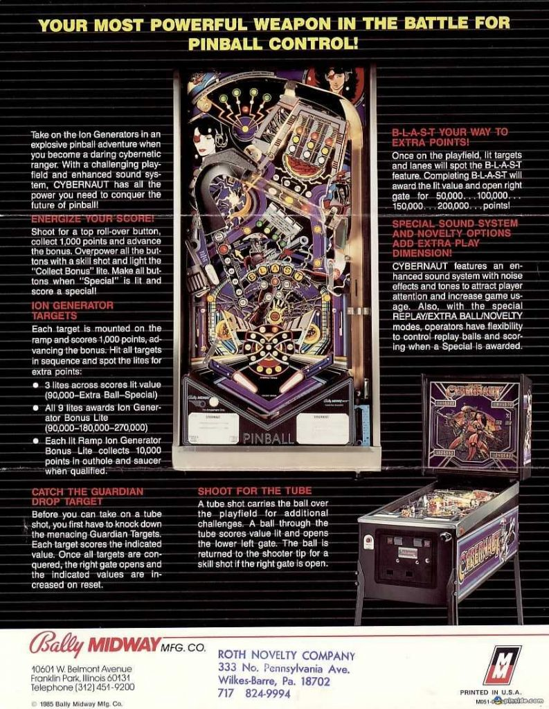 1985 Bally Cybernaut Pinball Flyer (back)