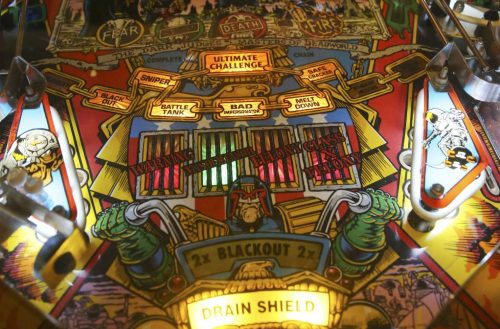 Judge Dredd Pinball Machine play field view