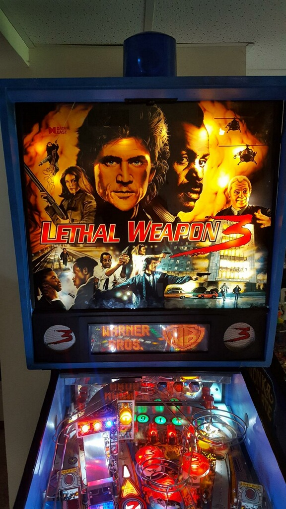 Lethal Weapon 3 Pinball Backbox, Topper, DMD