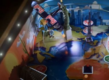"""Watch as parkour champion Pasha Petkuns becomes the human-sized """"ball"""" inside the world's largest pinball game machine made by Red Bull."""